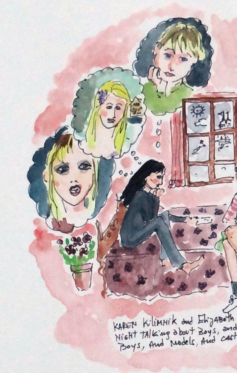 Saturday Night with Karen Kilimnik and Elizabeth Peyton, watercolor - Art by Manuel Santelices