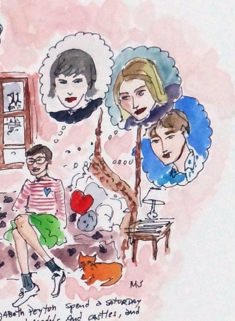 Saturday Night with Karen Kilimnik and Elizabeth Peyton, watercolor - Pop Art Art by Manuel Santelices