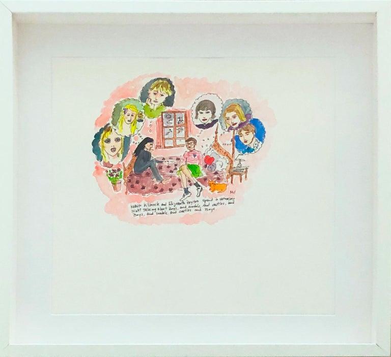Manuel Santelices Figurative Art - Saturday Night with Karen Kilimnik and Elizabeth Peyton, watercolor