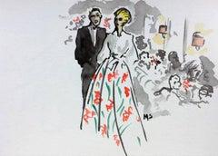 Carolina Herrera and Omar, Watercolor on Archival Paper, 2017