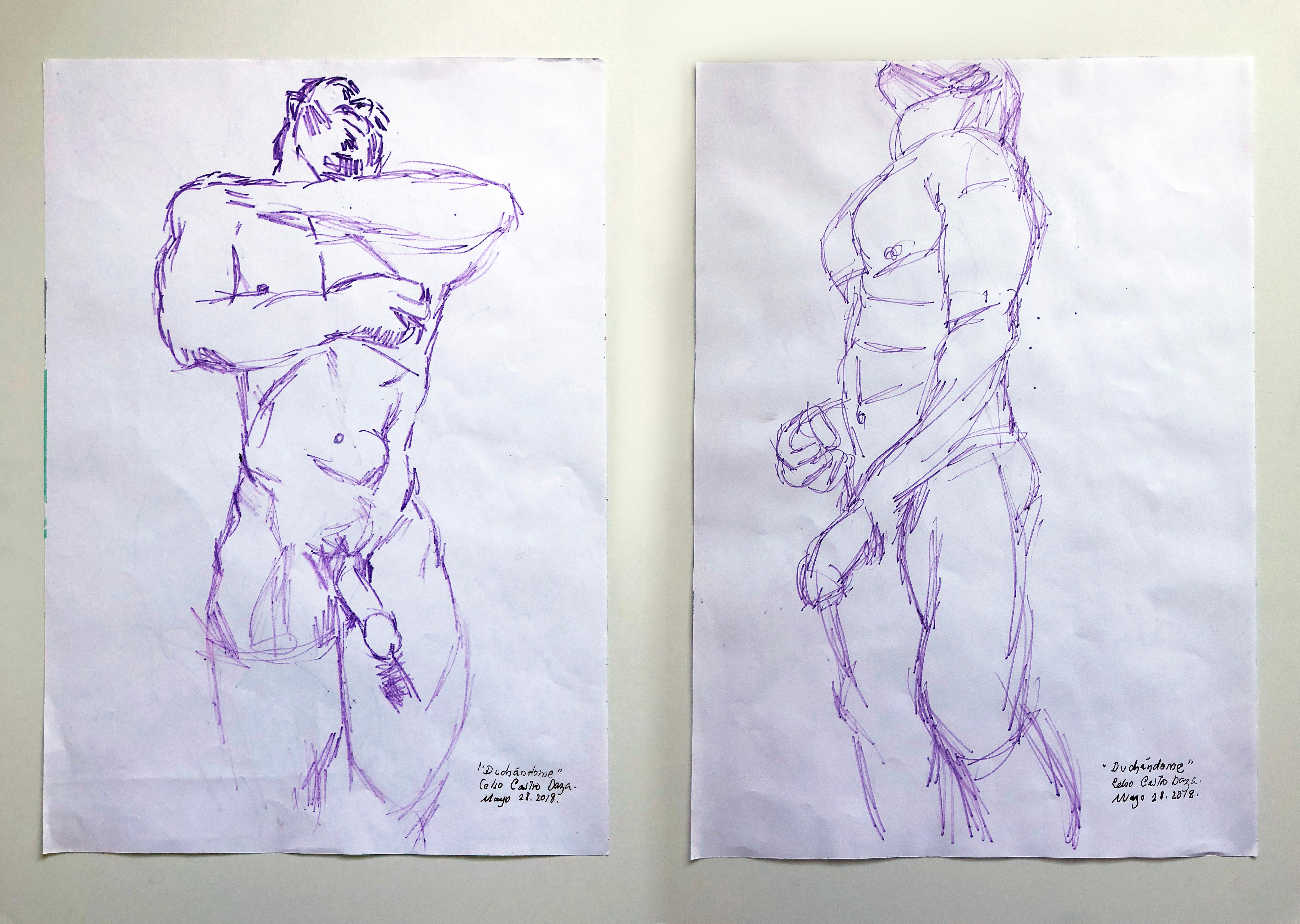 """""""Duchándome, May 28th"""", Watercolor Diptych, 2018"""