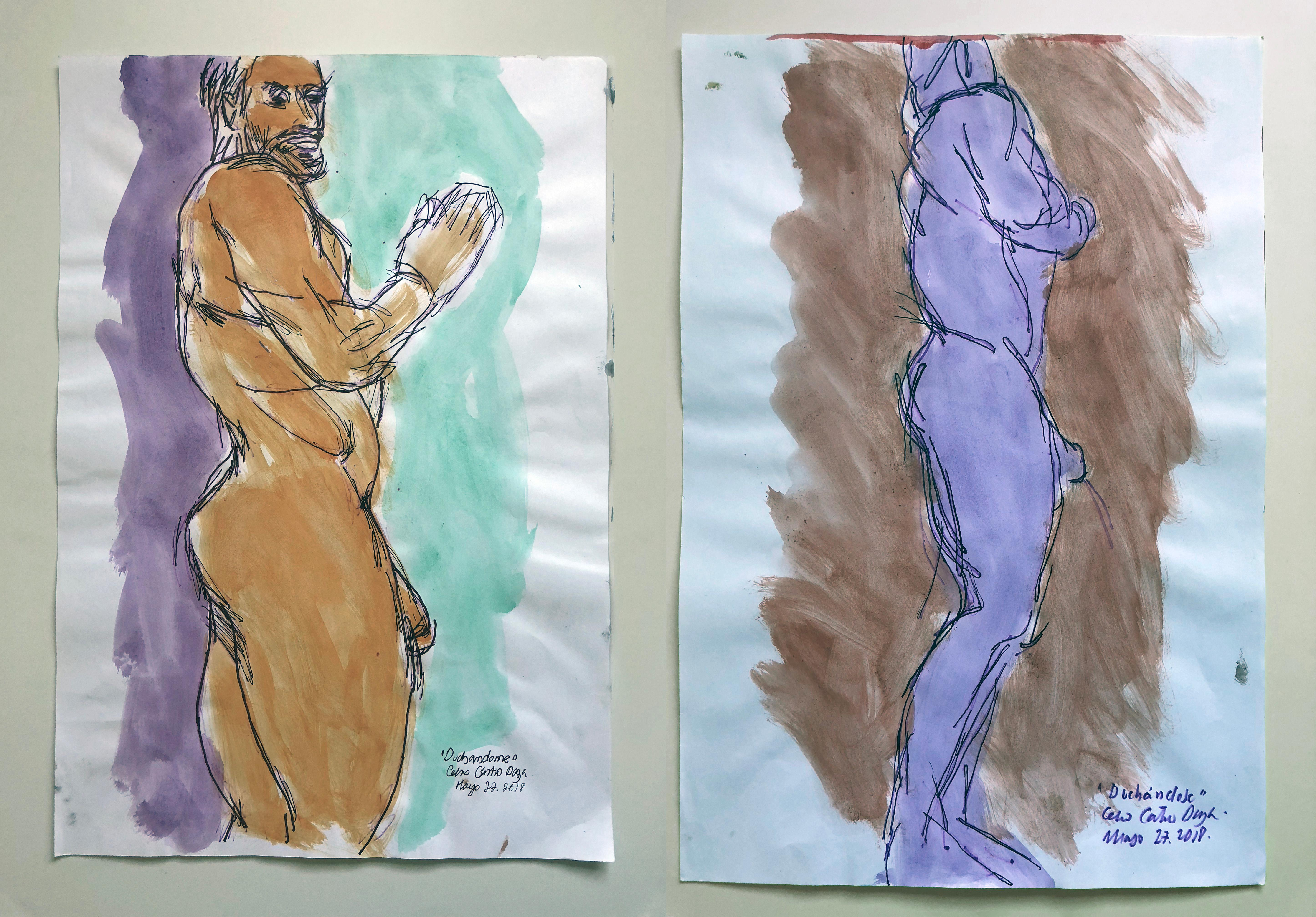 """""""Duchándome, May 22nd"""" and """"Duchándose, May 27th"""", Watercolor Diptych, 2018"""