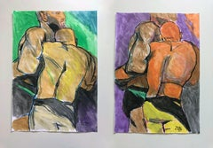 """Lucha"" and ""Pride"", Watercolor Diptych, 2018"