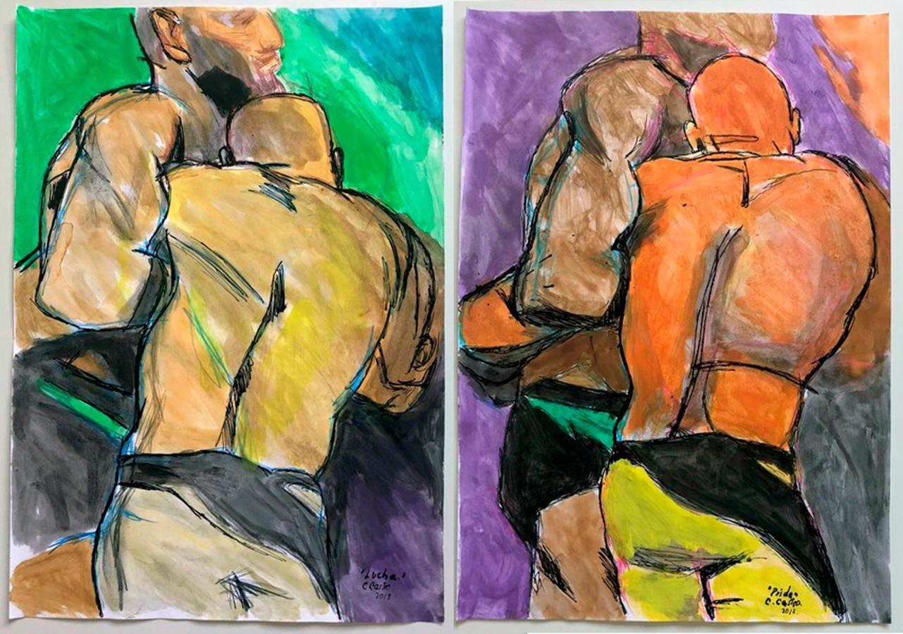 """""""Lucha"""" and """"Pride"""", Watercolor Diptych, 2018"""