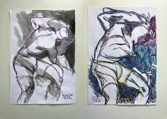 """Lucha"" and ""Boys, Boys, Pride"", Watercolor Diptych, 2018"