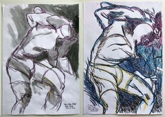 """""""Lucha"""" and """"Boys, Boys, Pride"""", Watercolor Diptych, 2018"""