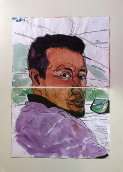 """Taxi Driver, June 14"" Watercolor Diptych, 2018"
