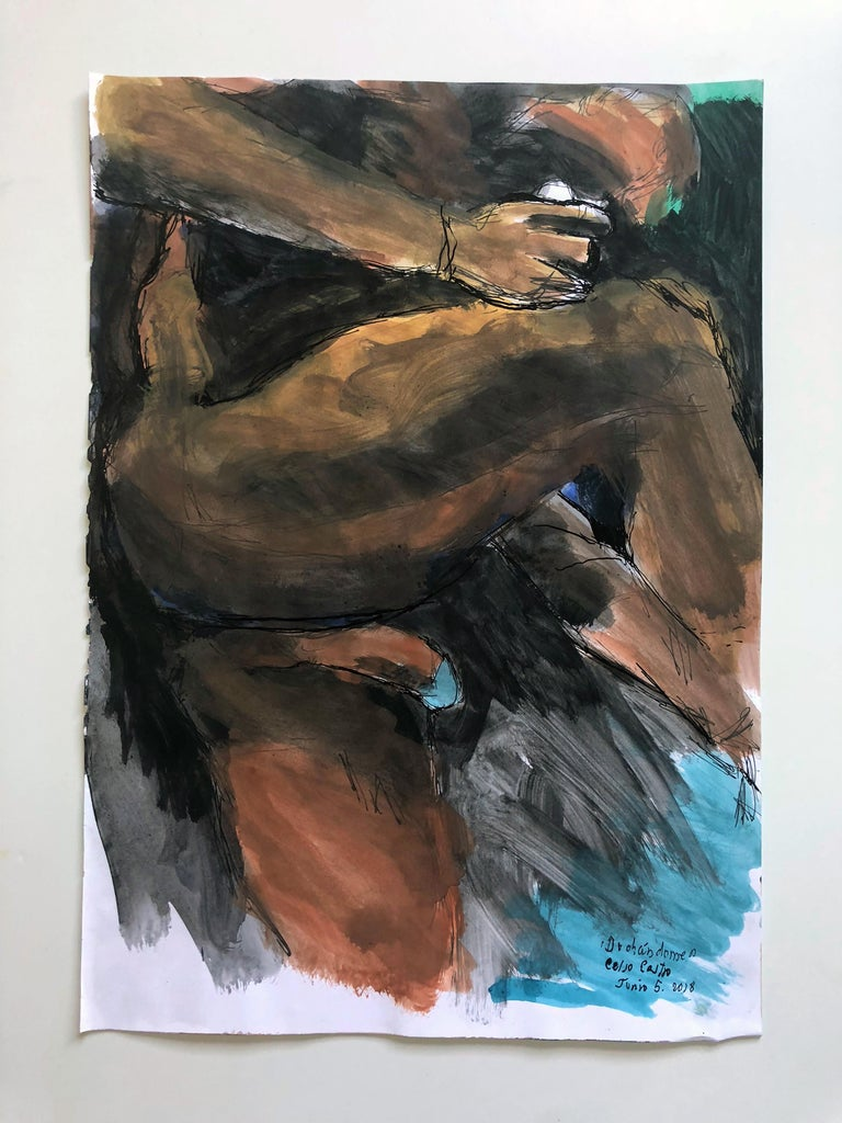 """Celso José Castro Daza Nude - """"Duchándome, June 5th"""", Watercolor, Pastel and Ink on Archival Paper, 2018"""