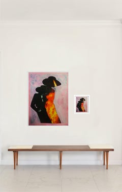 """Burning Woman, #2250"", Diptych. Large archival pigment print and collage"