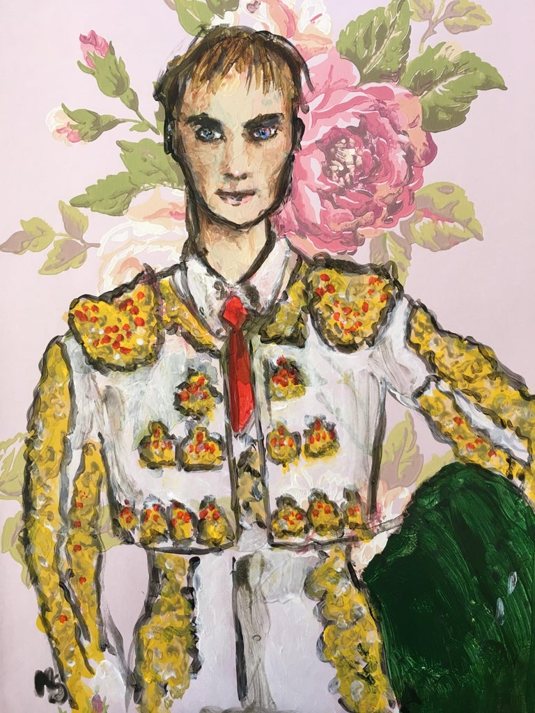 Matador, 2019 by Manuel Santelices One of a kind, acrylic on vintage paper  Signed by the artist. Image size: 16 in. H x 12 in. W  ________________________________________________  The worlds of fashion, society and pop culture are explored through