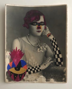 Checker Arm Lady,  One of a kind vintage photograph  intervened by the artist