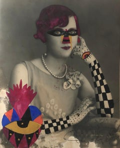 Checker Arm Lady, Framed One of a kind vintage photograph intervened by artist