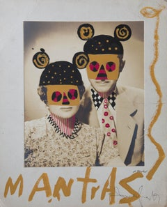 Mantras, Framed vintage photograph intervened by the artist with paint & pen