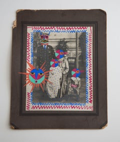 Sun family, framedmounted vintage photograph intervened by artist w/ paint & pen