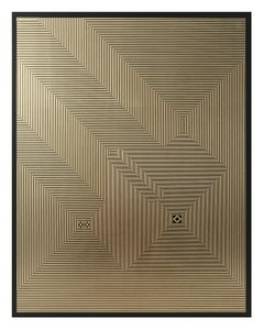 Untitled 3, 2019, Lacquer, Acrylic, oil and gold leaf on MDF Deep