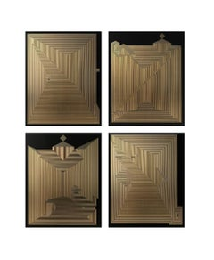 Untitled 23, Untitled 18, Untitled 12 & Untitled 22 Quadriptych Gold Leaf on MDF