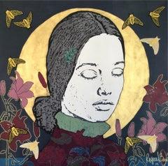 Ángelus, Acrylic on Canvas with Gold Foil