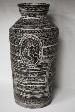 Tribute to Astarte and Her Spirit of Tenacity, Hand Built Carved Porcelain Vase
