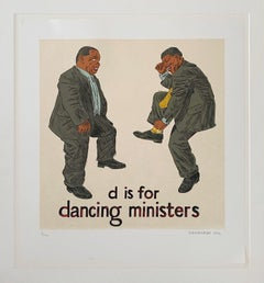 D is for Dancing Ministers, Lithograph - Mounted to a passepartout