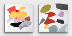 Untitled II and  Untitled IV Diptych, One of a Kind Acrylic on Canvas, Unframed