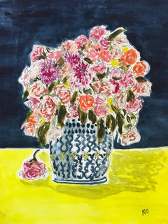 Flowers and yellow tablecloth, 2021