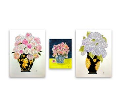 Orchids, Flowers Yellow Tablecloth and Hydrangeas Triptych, 2021