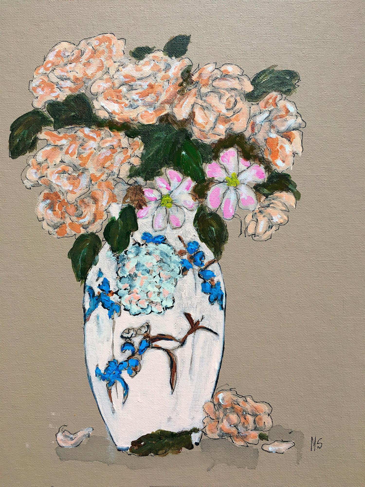 Flowers on Japanese cloissone vase, One of a Kind