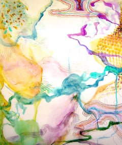"""Trace #12""  Large fluid abstraction, colorful, purple, yellow, turquoise, green"