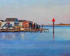 """""""Tangier Starboard""""  Large, colorful landscape/seascape of dock, water, blue sky"""