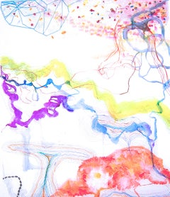 """Trace #13""  Large colorful watery abstraction yellow, purple, blue, red, purple"