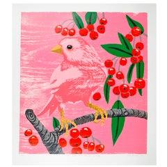Pink Bird with Cherries (Pink)