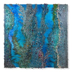 Neptune large blue textural rolled paper on canvas