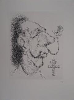 Caricature of Salvador Dali as General de Gaulle - Handsigned etching, 1971