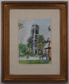 Paris : Tour Saint Jacques - Original handsigned gouache, CERTIFICATE