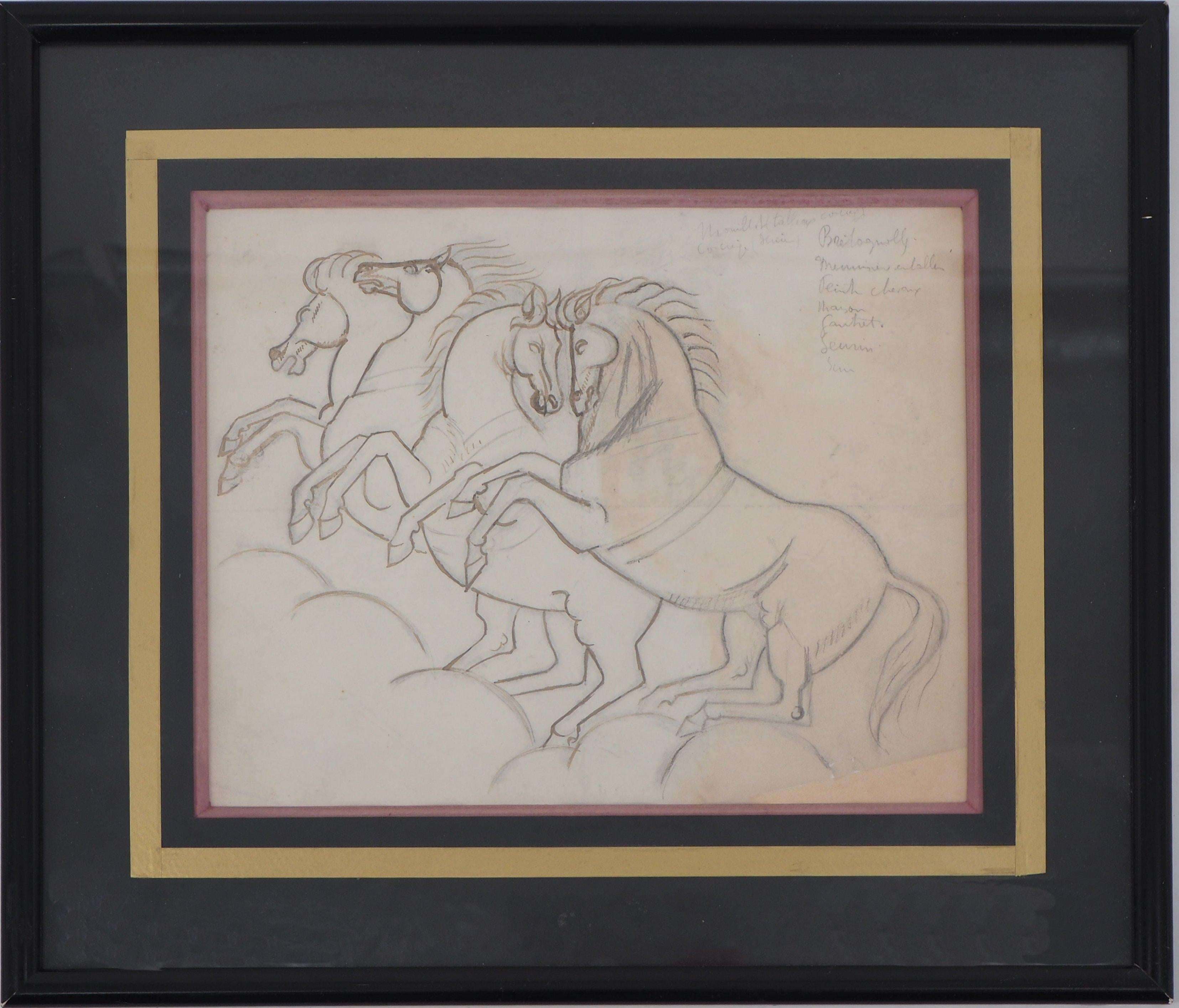 Two Couple of Horses - Original ink and pencil drawing