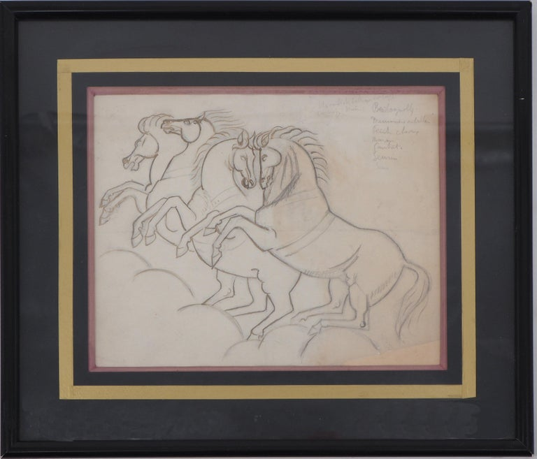 André Lhote Animal Art - Two Couple of Horses - Original ink and pencil drawing
