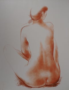 Sitted Nude - Original handsigned drawing in sanguine