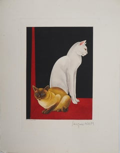 Two cats - Original Handsigned Etching - 1937