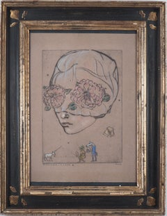 Flower Woman - Original signed charcoals drawing - Frame