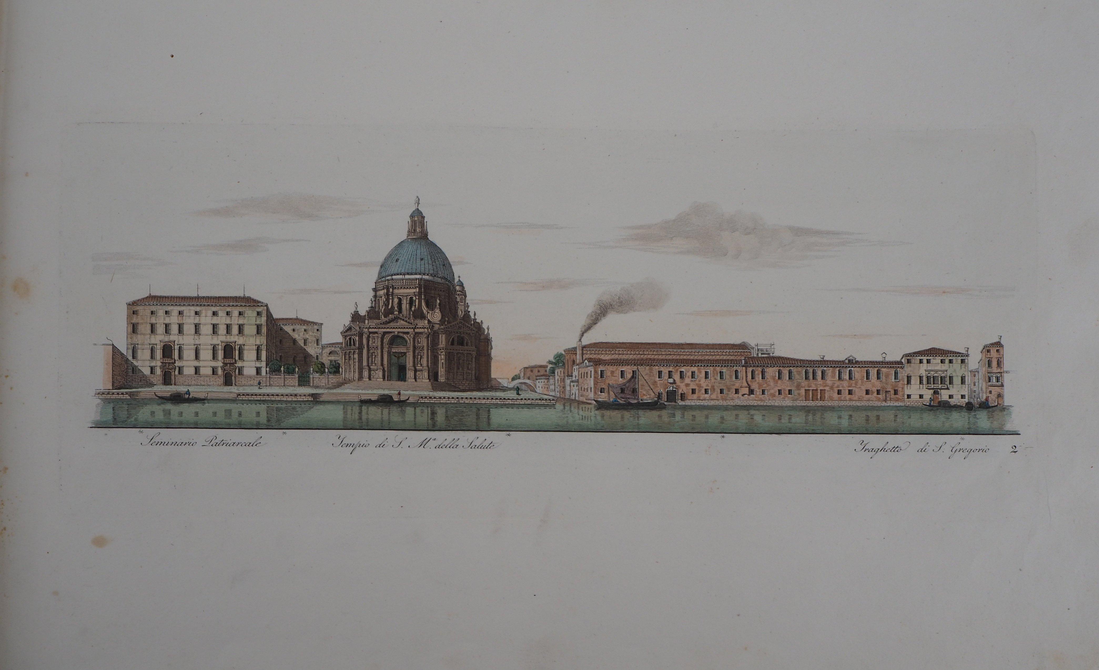 Venice, Santa Maria della Salute Church - Original etching and watercolor, 1831
