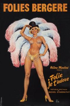 Folies Bergeres - Tall original vintage poster (Moulin Rouge)