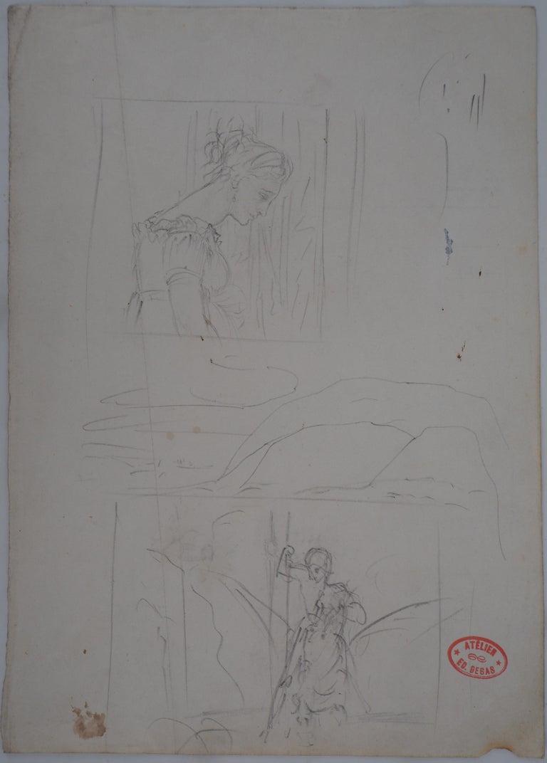 Edgar Degas Figurative Art - Study of Woman and Saint George - Original pencil drawing