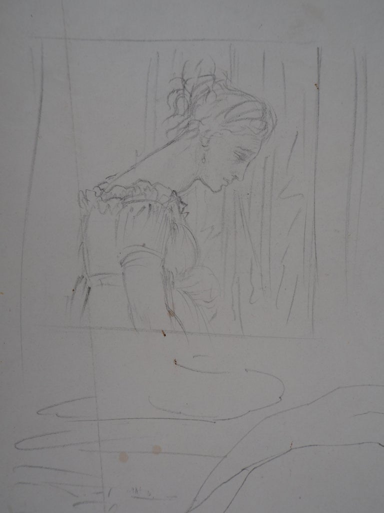 Study of Woman and Saint George - Original pencil drawing - Art by Edgar Degas