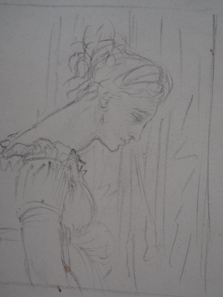 Study of Woman and Saint George - Original pencil drawing - Modern Art by Edgar Degas