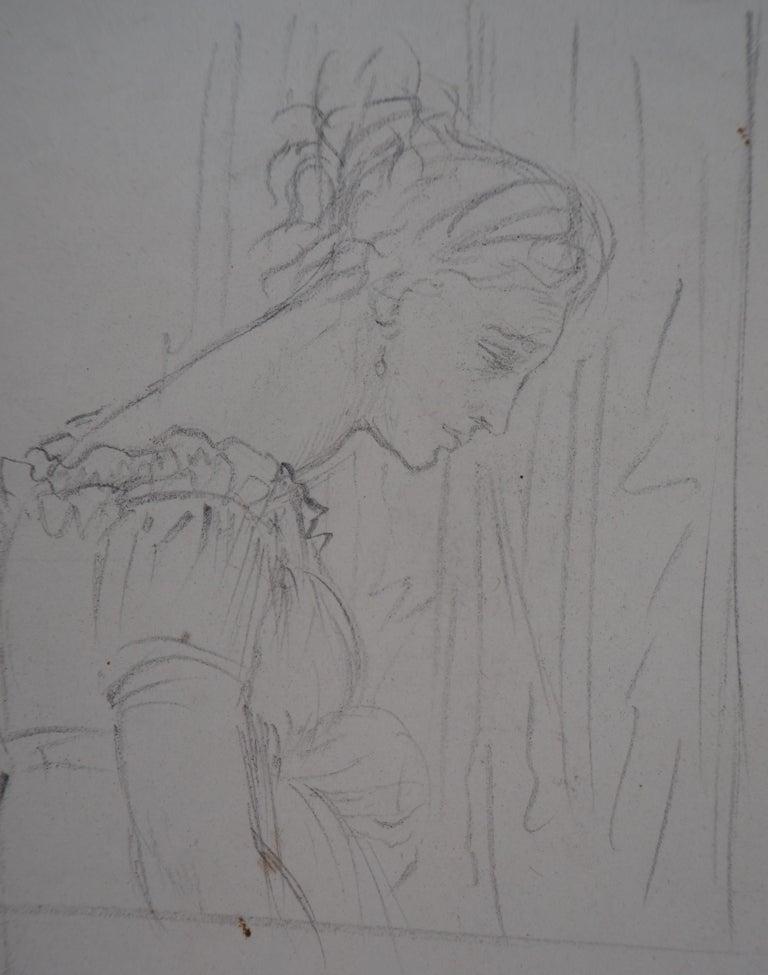 Study of Woman and Saint George - Original pencil drawing - Gray Figurative Art by Edgar Degas