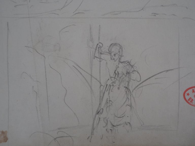Edgar DEGAS Study of Woman and Saint George  Original pencil drawing Bearing the stamp of 'Atelier Degas' (Lugt #657) On paper 27.5 x 19.5 cm (c. 11 x 8 in)  AUTHENTICITY & PROVENANCE :  - Certificate of authenticity by J Caillac (court expert) made