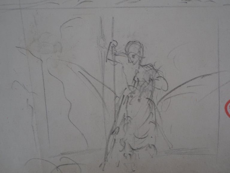 Study of Woman and Saint George - Original pencil drawing For Sale 1