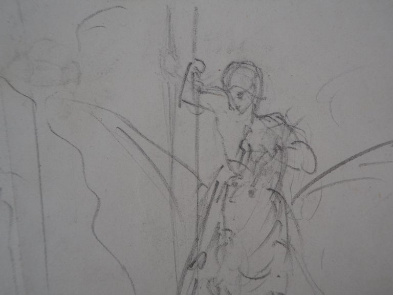 Study of Woman and Saint George - Original pencil drawing For Sale 2
