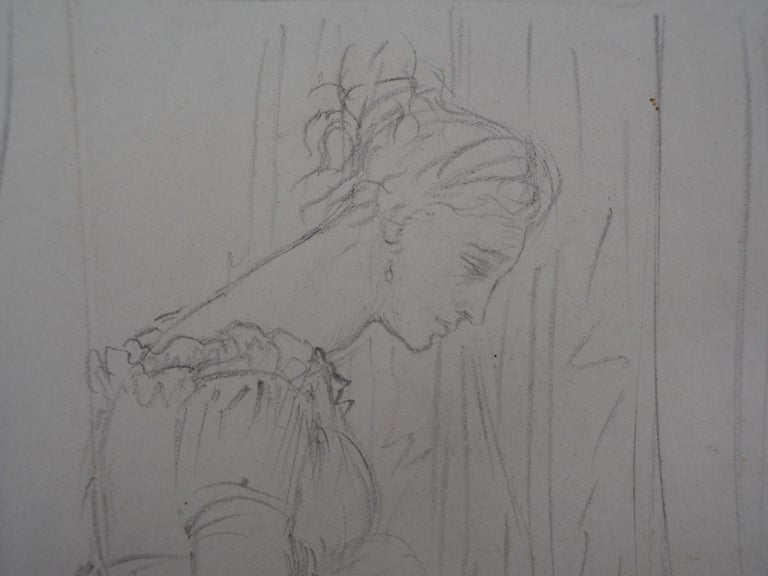 Study of Woman and Saint George - Original pencil drawing For Sale 3