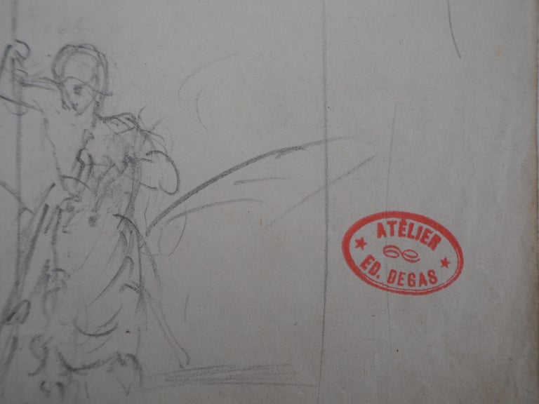 Study of Woman and Saint George - Original pencil drawing For Sale 4